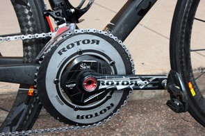 Tom Danielson's (Garmin-Cervélo) Rotor 3D+ crankset is fitted with an SRM power meter and a solid outer chainring for better shifting.
