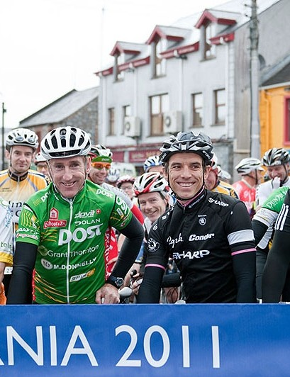 Irish legend Sean Kelly (second left) gears up for the 82 mile ride
