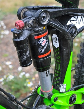 Schnell and Rene Wildhaber are the only two riders in the world that have RockShox Monarch Plus shocks on their Slashes