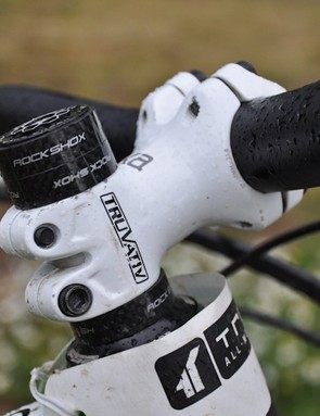 Schnell keeps his Lyrik's steerer tube long to allow handlebar height adjustments specific to fork setup and course styles