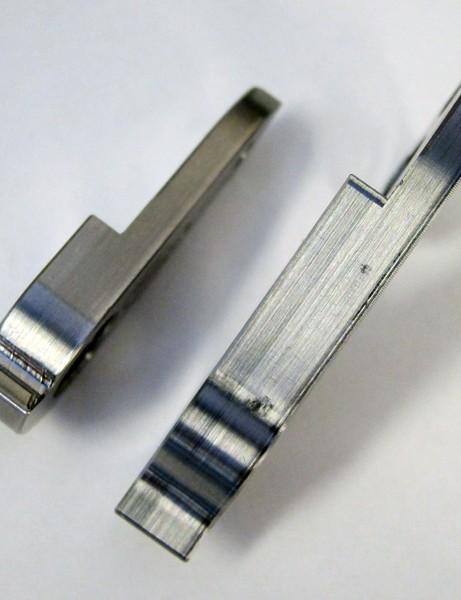 Wheels Manufacturing's titanium Cervélo derailleur hangers are a touch thicker than stock bits
