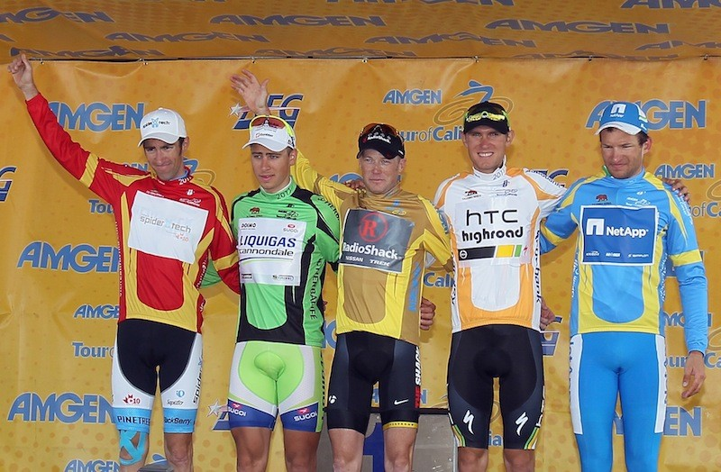 (L-R) Patrick McCarty of the USA riding for Spidertech in the king of the mountains jersey, Peter Sagan of Slovakia riding for Liquigas in the points jersey, Chris Horner of the USA riding for Team Radioshack in the overall leaders jersey, Tejay Van Garderen of the USA riding for HTC-Highroad in the best young rider jersey and Jan Barta of the Czech Republic riding for NetApp in the most courageous jersey pose on the podium following the 2011 AMGEN Tour of California from Santa Clarita to Thousand Oaks on 22 May, 2011 in Thousand Oaks, California