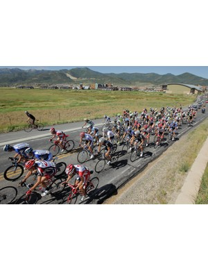 The peloton races away from the start during stage five of the Tour of Utah on 14 August, 2011 from Park City to Snowbird, Utah