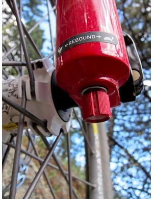 Rebound dial on the RockShox Lyrik Dual Position Air