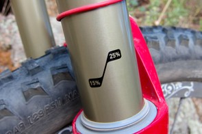 Sag indicators on the RockShox Lyrik Dual Position Air