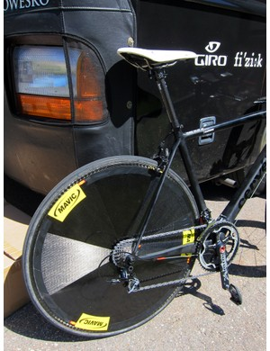 It's not often you'll see a disc rear wheel on a Cervélo R5ca but that's just what the Garmin-Cervélo team did for stage 3 time trial up Vail Pass