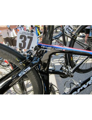 Dave Zabriskie (Garmin-Cervélo) had his Cervélo S5 set up with clip-on aero bars as a spare machine for the Vail time trial. He used his usual stars-and-stripes Cervélo P4 during the race