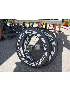 Bissell team mechanics were keeping a close eye on the weather given Colorado's notoriously unpredictable afternoon conditions. Disc wheels were fitted earlier in the day but deep-section rears were on hand just in case