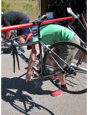 Exergy team mechanics were busy swapping riders' pedals from their road bikes to their TT rigs the morning of the Vail stage