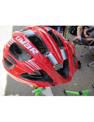 Remember Daniele Callegari's (Team Type 1-sanofi-aventis) horrific crash in the lead-up to stage 2's ascent of Cottonwood Pass? Here's his helmet. Ouch