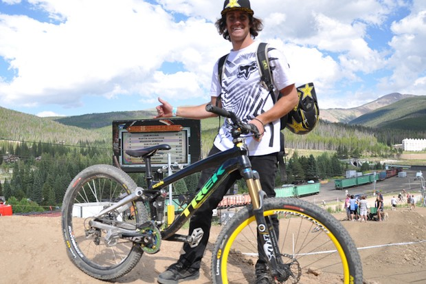 Cam McCaul piloted this Trek Slope prototype to the top of the podium at Crankworx Colorado