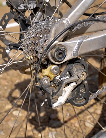 Though more of a tensioner than a derailleur, McCaul uses a short-cage Shimano Saint rear mech on those rare occasions when he does shif