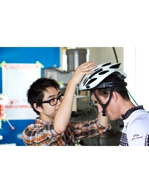 The brainwave transmitter is fitted to a bicycle helmet...