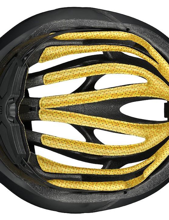 The one-piece interior padding on the new Mavic Plasma SLR helmet uses dual-density foam and X-Static antibacterial fabric