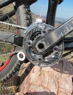 SRAM's custom 2x10 carbon crankset gets paired with a Gamut chain guide