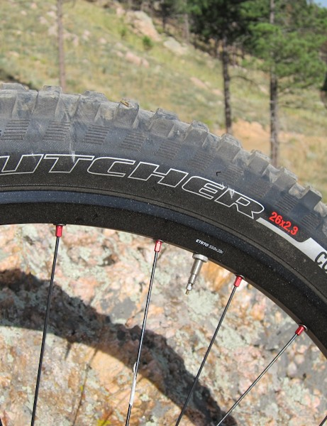 The 2.3in Specialized Butcher tire up front is a good match for the EVO