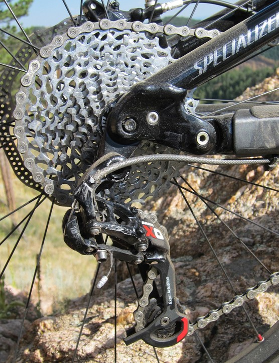 The EVO gets a SRAM X0 rear derailleur and an X7 front derailleur