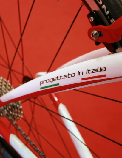 The Colnago CLX 3.0 frame displays its 'designed in Italy' credentials