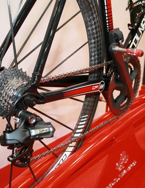 Even the pedals are red on the Colnago for Ferrari CF8. The wheels are Mavic Cosmic Ultimates shod with handmade Vittoria tubulars