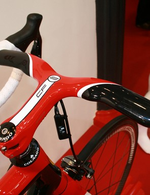 An integrated FSA stem/bar gives clean lines up front on the Colnago for Ferrari CF8 comes wit