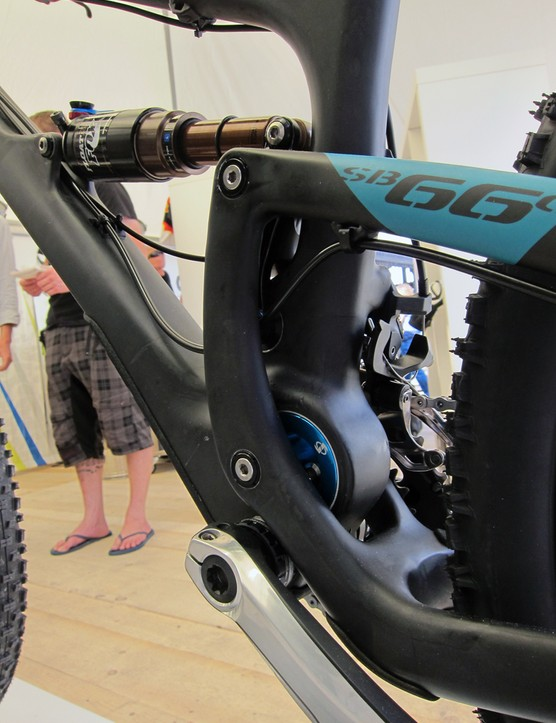 Yeti's Switch rear suspension technology uses an eccentric lower pivot that changes direction as the rear end moves through its travel