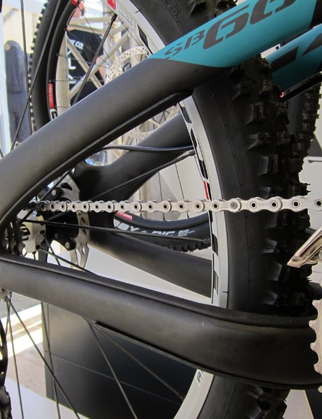 Rubber guards on the inside surfaces of the chainstay and seatstay of Yeti's new SB-66c guard against chain slap