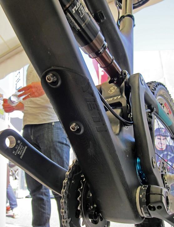 Yeti have added a down tube guard to their new SB-66c trail bike