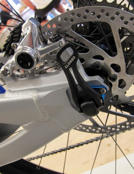 The through-axle version of Yeti's new SB-95 uses a Shimano skewer