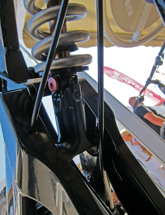 The lower shock mount on Yeti's new 303 WC is turned 90 degrees and then a separate aluminum bit is bolted on from there