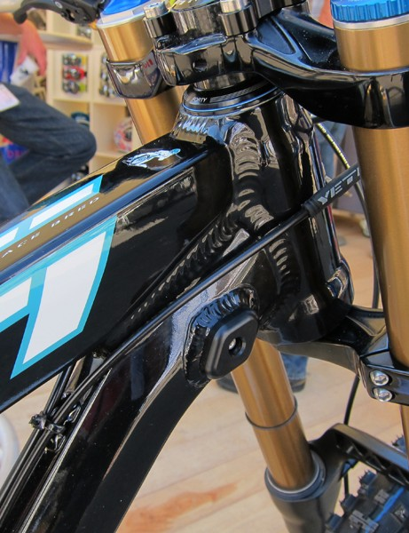 Integrated fork stops are located right behind the newly tapered head tube on Yeti's new 303 WC