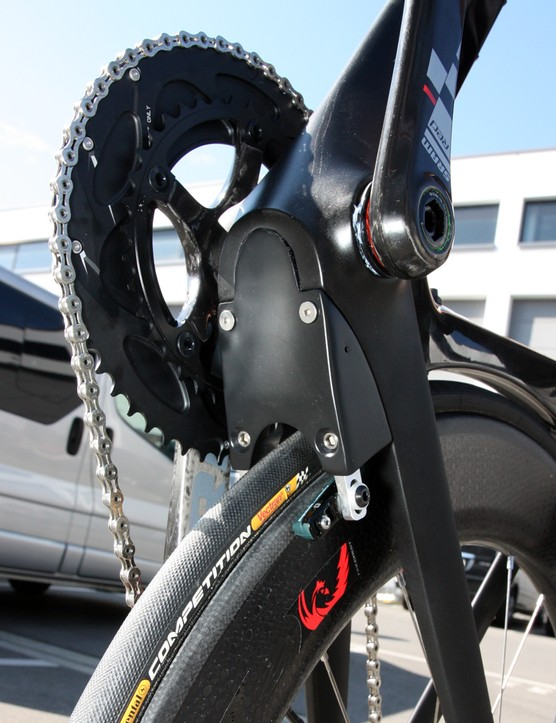 The rear brake of Canyon's Speedmax CF prototype is housed inside this enclosure to reduce drag