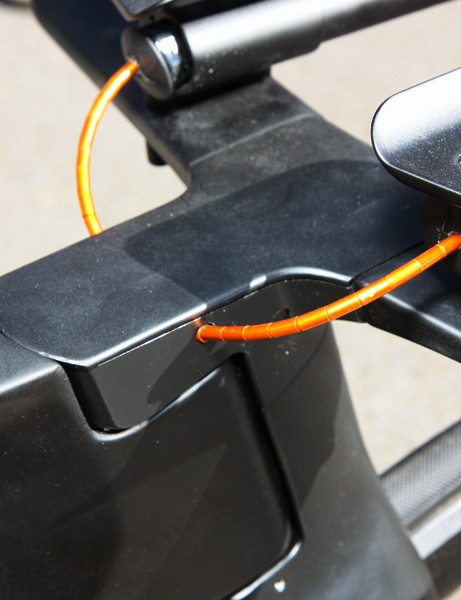 Derailleur cables are fed directly into the side of the stem on Canyon's prototype time trial rig