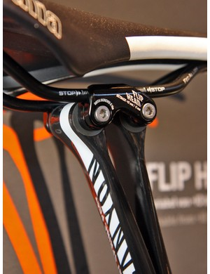 Tilt adjustments are super easy on Canyon's new VCLS Flat Spring Post - just loosen the seatpost collar, tilt the saddle by hand, then retighten.  The two semicircular seatpost halves aren't connected so they're free to slide against each other when the collar isn't tight