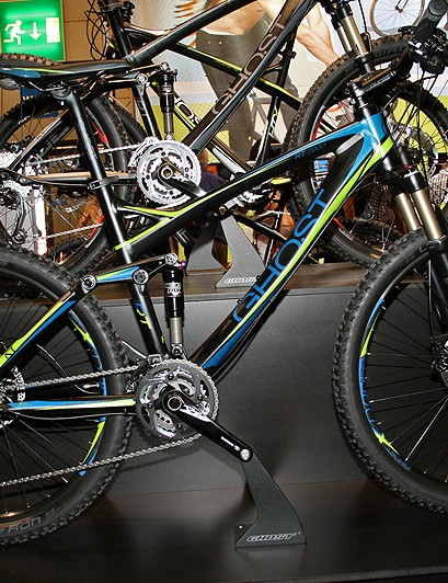 Ghost's 100mm-travel RT models are designed for technical cross-country rides. The range tops out with the SRAM XX-equipped carbon fibre Lector Pro Team. Pictured is the entry-level alloy Actinum  5900, with Fox 32F fork and Float RL shock, Shimano XT/SLX gearing and non-series 596 brakes