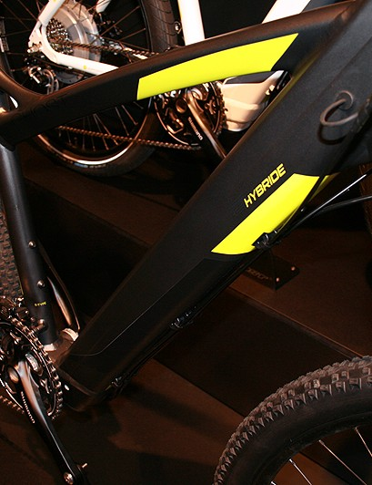 A 10Ah lithium-ion battery sits in the chunky down tube of Ghost's E-Hybride Trail 4000