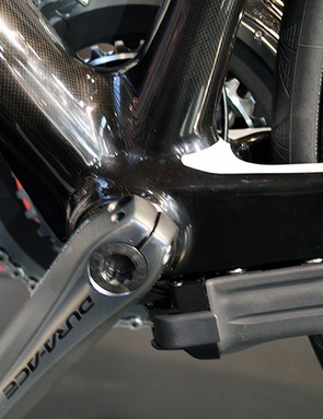 The Di2 battery is located on the underside of the non-drive side chainstay on Rose's Xeon bikes
