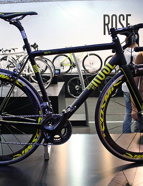 The Rose Xeon RS is made from ultra-light alloy. Available with almost any groupset you might want, the model shown is finished, like many bikes this week, with Shimano's eagerly anticipated Ultegra Di2 drivetrain and Mavic Cosmic Carbone SL hoops