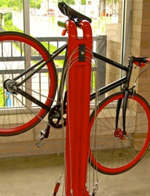 A public use bike repair station is part of the Fixtation kiosk