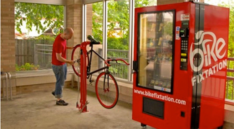 The vending machine offers tubes and other supplies, as well as a free air from a compressor