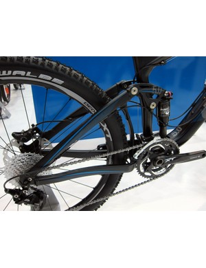The alloy rear end on the Giant Trance X Advanced 2 adds weight but saves a lot of money at the cash register