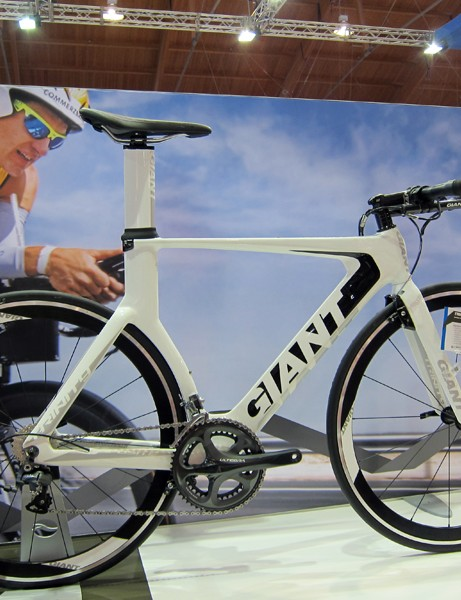 Giant have added two new lower-priced time trial/triathlon bikes to their 2012 range: the Trinity Composite 1 shown here plus the Trinity Composite 2