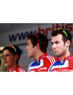 Peter Kennaug (L), Alex Dowsett (C) and Mark Cavendish (R) form part of the British men's road squad for the world championships