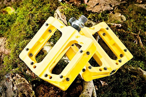 NukeProof Electron flat pedals in yellow