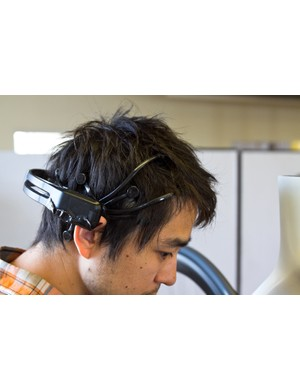 Riders must wear a special headset to record electrical activity at the scalp