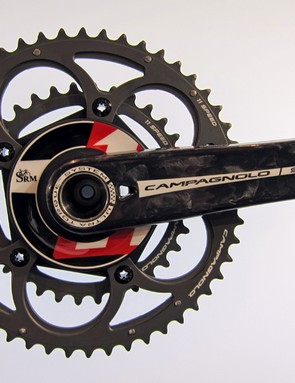 SRM have added a Campagnolo-compatible power meter to their range this year. The arms are made specifically for SRM - the hole is necessary to access the bearing snapring
