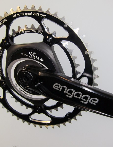 SRM's spider-based system can be adapted to even esoteric crankarms like these Engage machined aluminum models made for Tune