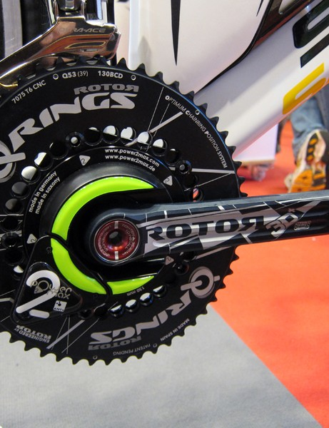 Power2max's power measuring spider integrates well into this Rotor 3D+ crankset