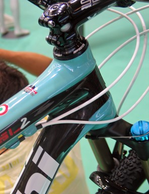 The Bianchi Methanol SL2's sculpted head tube mixes carbon layups and materials for maximum strength