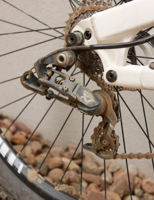 SRAM's X7 short-cage rear derailleur, perfect for the blue collar downhiller