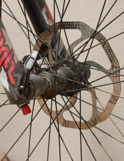 Specialized spec'd a 200mm front rotor and we could have used it out back too; instead they used a 180mm rotor